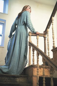 Ravelry: Dressing Gown pattern by Jennie Atkinson. Just wish I could knit or crochet {whichever technique this is! Dressing Gown Pattern, Dress Patterns, Knitting Patterns, Lace Patterns, Mode Boho, Jacket Pattern, Knit Dress, Wool Dress, Hand Knitting