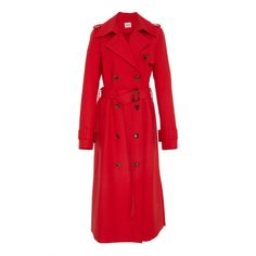 Khaite Cornelia Trench ($1,690) ❤ liked on Polyvore featuring outerwear, coats, red, trench coats, red coats, red trenchcoat, double-breasted trench coat and red double breasted coat