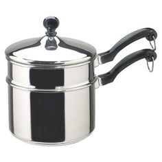 Farberware Classic 2-Qt. Covered Double Boiler by Meyer Corporation. $34.99. Aluminum core in base for quick, even heating; base capped by stainless steel. Made of heavy 18/10 stainless steel polished to mirror finish. 2-quart double boiler great for making candy and delicate desserts. Handle stays cool on stovetop, oven-safe to 350 degrees F. Lifetime warranty against defects. Amazon.com                You want hollandaise on poached eggs and chocolate sauce ...