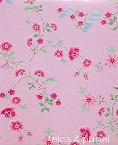 p-11231-papel-pintado-pajaros-sobre-ramas-rosa-rs-02.jpg (649×800)