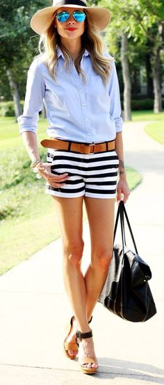 Striped Shorts, blue shirts, hat, black handbag. Summer women fashion outfit clothing style apparel @roressclothes closet ideas