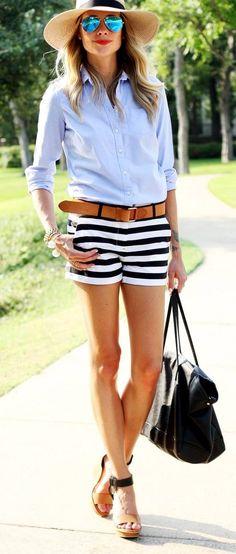 Striped Shorts, blue shirts, hat, black handbag. Summer women fashion outfit clothing style apparel @roressclothes closet ideas