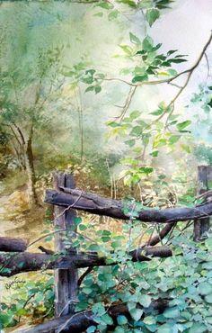 Original Landscape Painting by Rukiye Garip Watercolor Canvas, Easy Watercolor, Watercolor Drawing, Watercolor Landscape, Watercolor Flowers, Landscape Paintings, Watercolor Paintings, Woodland Art, Watercolor Pictures