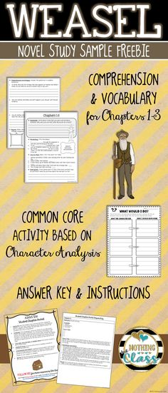 This is a 5 page FREE sample from my Common Core aligned book study for Weasel, by Cynthia DeFelice.   It includes vocabulary and comprehension student work for Chapters 1-3, along with a character analysis activity, and all answer keys.   This makes a perfect no prep book companion, and is great for whole class, small group, or independent study.