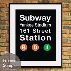 Yankee Stadium B D-NYC Inspired Subway Sign Art-11x14 Print. Buy 3 and get One Free on Etsy, $15.95