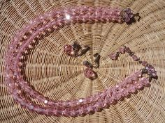 Vintage Pink Austrian Crystal Necklace & Clip Earrings Double 2 Strand J Hook #Austrian