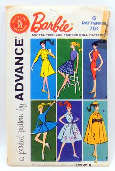 Barbie Teen Age Fashion Doll Pattern by Advance, 1961, Group B, 9939, 6 Outfits, 13128 by QueeniesCollectibles on Etsy