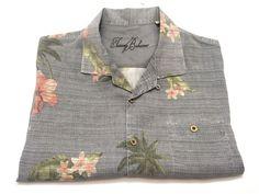 Tommy Bahama XL Hawaiian Camp Shirt Gray Floral Print Short Sleeve #TommyBahama #Hawaiian
