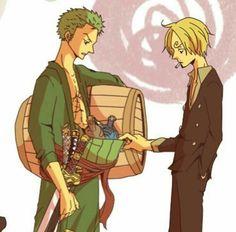 Zoro, Sanji, funny, booze, sake, bottles; One Piece