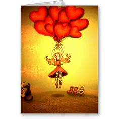 Girl Floating on Heart-Shaped Balloons Greeting Cards Valentine Day Cards, Heart Shapes, Balloons, Greeting Cards, Create, Gifts, Design, Valentine Ecards, Presents