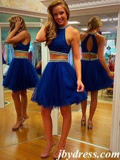 A Line Round Neck 2 Pieces Short Blue Prom Dress, 2 Pieces Short Formal Dress, Graduation Dress, Homecoming Dress