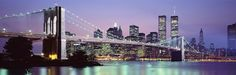 Bridge at dusk, Brooklyn Bridge, East River, World Trade Center, Wall Street, Manhattan, New York City, New York State, USA Fine-Art Print by Panoramic Images at UrbanLoftArt.com