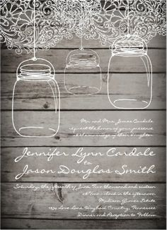 Hanging Mason Jars and Lace Barn Wood Rustic Country Wedding Invitations.  40% OFF when you order 100+ Invites.  Perfect for a country wedding.  #masonjar #wedding #countrywedding #rusticwedding
