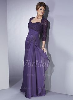 Mother of the Bride Dresses - $157.99 - A-Line/Princess Sweetheart Court Train Chiffon Tulle Mother of the Bride Dress With Lace Beading Cascading Ruffles (00805006865)