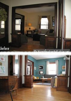 DR/K ? best paint colours to update dark or medium toned wood trim on windows and doors, including gray, blue, cream and green Best Neutral Paint Colors, Room Paint Colors, Grey Colors, Neutral Walls, Wall Colors, Interior Trim, Interior Exterior, Home Staging, Dark Wood Trim
