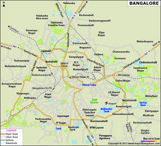 Detailed custom map of bangalore city. To get custom maps for your organisation visit our website www.mapsofindia.biz