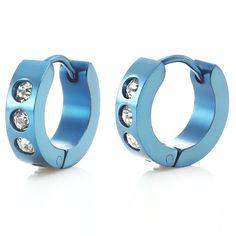 Stunning Blazing Blue Stainless Steel CZ Mens Hoop Earrings | RnBJewellery