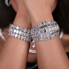 Breathtaking emerald cut diamonds bracelet,round,emerald and oval shape bracelet.Huge rocks in rings.(emeralds the best)all top quality jewelry. Courtesy @petermarco90210