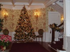 Foyer during Christmas in Historic Hinsdale Home by Judy Linn