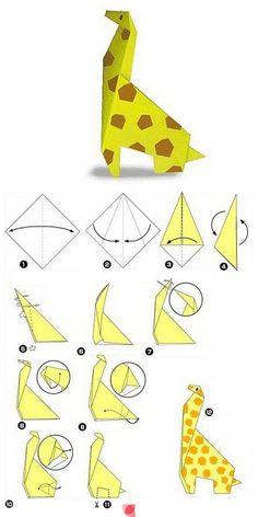 origami giraffe (i'd love to make an african animal origami hanging room divider for the entry . . . )