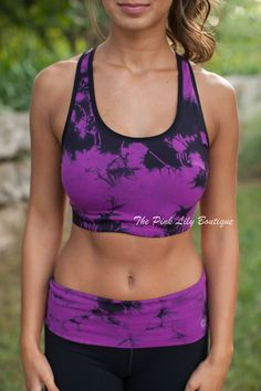The Pink Lily Boutique - Purple Tie Dye Racerback Sports Bra, $35.00 (http://thepinklilyboutique.com/purple-tie-dye-racerback-sports-bra/)