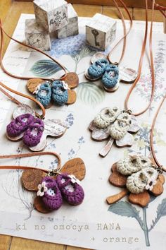 crochet mini shoes and wood charm necklace