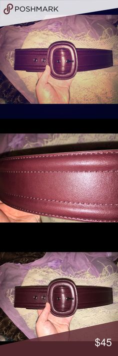 Maroon waist belt This fabulous maroon//mahogany leather belt is brand new with tags (cut to try belt on after purchase) & it is a size 14/16 or large/extra-large. It has 5 settings, a large buckle & partial elastic band in the back. My band size is a 36 & this fit me perfectly! I just don't have anything to wear it with now! All offers are welcome. 🙂 Lane Bryant Accessories Belts
