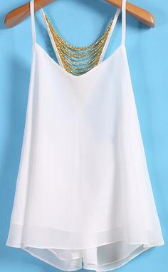 Spaghetti Strap Bead Chiffon White Vest