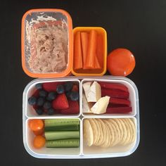 School lunchbox today: tuna & mayonnaise, carrot sticks, mandarin, cucumber, cherry tomato, red capsicum, camembert, rice crackers, strawberries & blueberries  #cutoutthecrap #glutenfree almost #dairyfree #preservativefree #additivefree #lunchbox #lunch #morningtea #kidsfood #schoolfood #foodideas #grateful #happykids #happybellies #nosandwich #noexcuses #collettewhite