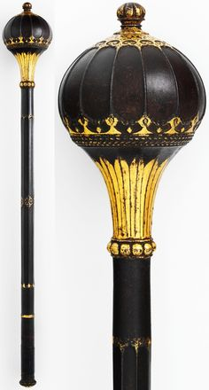 Persian mace, 16th century, possibly steel, gold. L. 25 in. (63.5 cm), Met Museum, Bequest of George C. Stone, 1935.
