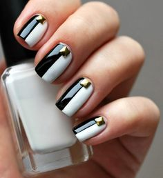 Black and White Nails Designs 2015