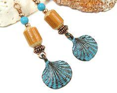 Sea Shell Earrings Scallop Shell Beach Earrings Boho Copper @PrettyGonzo #bmecountdown #jewelry #GiftForMom