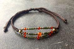 handmade boho jewelry orange agate  brass olive green  by Baanoo, $25.00