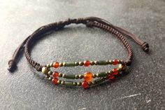 handmade boho jewelry orange agate  brass olive green  by Baanoo, $25.00