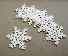 Crochet Christmas Snowflake Ornaments from Caitlin Sainio Designs Crochet Christmas Decorations, Crochet Decoration, Crochet Ornaments, Snowflake Ornaments, Christmas Snowflakes, Handmade Ornaments, Christmas Angels, Christmas Christmas, Crochet Snowflake Pattern