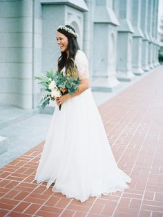 modest wedding dress with lace sleeves from alta moda. --- photo: jonathan canlas
