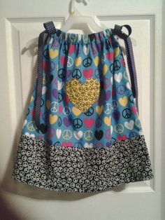 Heart & Peace Signs Pillowcase Dress by Vicky's Cute Creations, $17.00