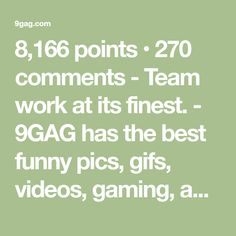8,166 points • 270 comments - Team work at its finest. - 9GAG has the best funny pics, gifs, videos, gaming, anime, manga, movie, tv, cosplay, sport, food, memes, cute, fail, wtf photos on the internet!