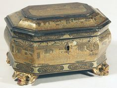 tea chest, trinket boxes, tea caddi, lacquer box, antiqu tea, trick box