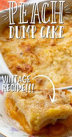 This old-fashioned peach dump cake is quick and easy dessert you'll absolutely love. A dump cake is a cake made by dumping the ingredients, which typically include store-bought cake mix, directly in a pan before baking. You don't have to worry about mixing or adding lots of complicated steps or ingredients.  For this recipe, we used canned peaches along with cinnamon and cake mix to create a bubbly and warm dessert. Köstliche Desserts, Delicious Desserts, Dessert Recipes, Plated Desserts, Food Cakes, Cupcake Cakes, Bundt Cakes, Dump Cake Recipes, Dump Cakes