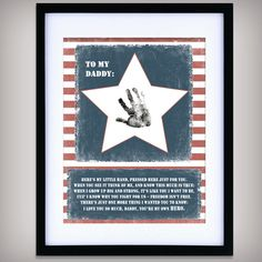 cute idea, could do this myself though. Daddy, You're My Hero - 8x10 DIGITAL Art - INSTANT DOWNLOAD - Add your child's hand print - Gift for Deployed Solider - Military - Printable...