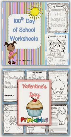 February Printables COMBO 100th Day of School and Valentine's Day Clever Classroom