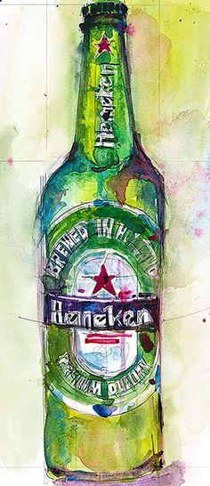 Heineken Beer Original Watercolor Archival Print or Giclee - various sizes - man cave