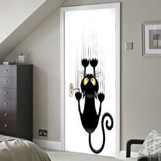 Wall Climbing Cat Printed Door Stickers - BLACK WHITE 38.5*200CM*2PCS Home Collections, Home Decor Decals, Wall Sticker, Door Stickers, Vinyl Doors, Door Decals, Wall, Cheap Doors, Doors