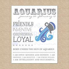 AQUARIUS Zodiac Giclée Art Print   8 x 10 by PaperRamma on Etsy, $20.00