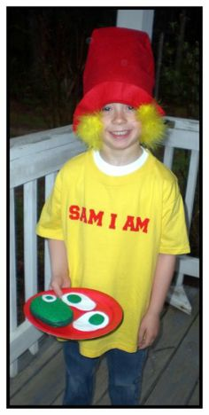 "green eggs costume | He wanted to be ""Sam I Am"" from ""Green Eggs And Ham"" of course!"