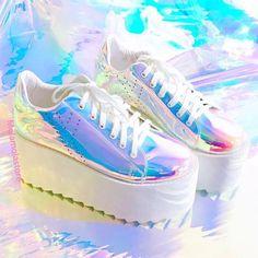 13e38bbbb1a Harajuku Hologram platform shoes YV5086