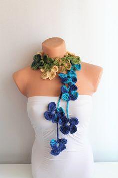 AUTUMN SALE Green Blue Beige Crochet Flower Scarf by fairstore, $19.00