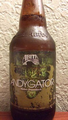 Cerveja Abita Andygator, estilo Maibock/Helles Bock, produzida por Abita Brewing Company, Estados Unidos. 8% ABV de álcool.