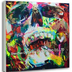goods idea handpainted oil pictures art on Canvas colorful ghost face skull head wall painting for living room home decor Skull Painting, Oil Painting Abstract, Painting Canvas, Oil Paintings, Colorful Skulls, Ghost Faces, Skull Hand, Modern Artwork, Face Art